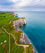 Aerial view of the cliffs of Etretat, Octeville sur Mer, Le Havre, Seine Maritime, Normandy, France, Western Europe.