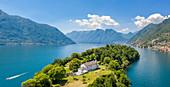 Aerial view of the Isola Comacina, Ossuccio, Tremezzina, Como Lake, Lombardy, Italy.
