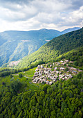 Aerial view of the small village of Sarona, Curiglia con Monteviasco, Veddasca valley, Varese district, Lombardy, Italy.