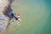 Aerial view of Beachy Head Lighthouse, a chalk headland in East Sussex, England. It is situated close to Eastbourne, immediately east of the Seven Sisters. Southern England.