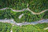 Aerial view of the old road of Via Mala di Scalve, Dezzo di Scalve, Val di Scalve, Bergamo province, Lombardy, Italy.