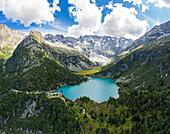 Aerial view of the Aviolo lake and Rifugio Sandro Occhi in the Adamello park. Edolo,Brescia province, Italy, Europe.