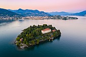 Aerial view of Isola Madre and Pallanza (Verbania) during a summer sunset. Stresa, Lago Maggiore, Piedmont, Italy.