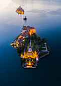 Aerial view of Isola Bella and Isola dei Pescatori during a summer sunset. Stresa, Lago Maggiore, Piedmont, Italy.