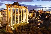 View of the ruins of Fori Imperiali from the Campidoglio at dawn. Rome, Rome district, Lazio, Europe, Italy.