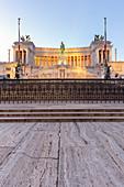 View of the Vittoriano monument, called also Altare della Patria in Venezia square. Rome, Rome district, Lazio, Europe, Italy.