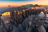 Aerial view of Val del Mesdì at sunset, Dolomites, Trentino Alto Adige, Italy