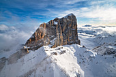 Winter aerial view of Marmolada south face Dolomites Province of Belluno Veneto Italy Europe