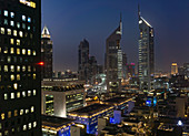 Night scene, Jumeirah Emirates Towers, Dubai, UAE