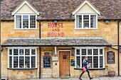 United Kingdom, Worcestershire, Cotswold district, Cotswolds region, Broadway called The Jewel of the Cotswolds Horse and Hound pub dating from the 17th century