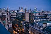 England, London, The Strand, elevated city view towards Southbank, dusk