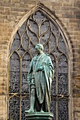 United Kingdom, Scotland, Edinburgh, listed as World Heritage, Statue of Walter Francis Scott, 5th Duke of Buccleuch, in front of the St Giles' Cathedral