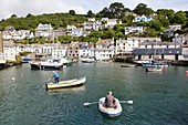 United Kingdom, Cornwall, Polperro, Fishing boats in Polperro Harbour