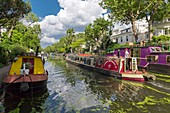 United Kingdom, London, Paddington district, Little Venice at the junction of the Grand Union Canal and Regent's Canal, barges