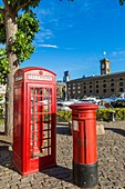 United Kingdom, London, Tower Hamlets district, St Katharine docks, mailbox and telephone booth