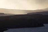United Kingdom, Scotland, Highlands, Inner Hebrides, Isle of Skye, Trotternish, wind turbines near Uig