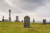 United Kingdom, Scotland, Highlands, Inner Hebrides, Isle of Skye, Trotternish, Kilmuir, cemetery and monument dedicated to Flora Mac Donald