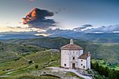 Cloudy mood over the church Madonna della Pietra, Gran Sasso National Park, Parco nazionale Gran Sasso, Apennines, Abruzzo, Italy