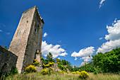 Burgturm über Visso, Visso, Grande Anello dei Sibillini, Sibillinische Berge, Monti Sibillini, Nationalpark Monti Sibillini, Parco nazionale dei Monti Sibillini, Apennin, Marken, Umbrien, Italien