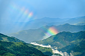 Rainbow over the Sibillini Mountains, Grande Anello dei Sibillini, Sibillini Mountains, Monti Sibillini, Monti Sibillini National Park, Parco nazionale dei Monti Sibillini, Apennines, Marche, Umbria, Italy