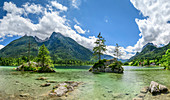 Panorama from Hintersee with Hochkalter, Hintersee, Berchtesgaden Alps, Berchtesgaden, Berchtesgaden National Park, Upper Bavaria, Bavaria, Germany