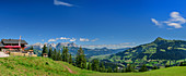 Panorama with Seidlalm, Kaiser Mountains and Kitzbüheler Horn in the background, Kitzbühel Alps, Tyrol, Austria
