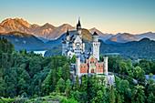Neuschwanstein Castle in front of Tannheimer Mountains in the dawn, Neuschwanstein, Ammer Mountains, Ammergau Alps, Swabia, Bavaria, Germany