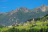 View of Raggal and Lechquellen Mountains, Großes Walsertal Biosphere Reserve, Bregenz Forest Mountains, Bregenzerwald, Vorarlberg, Austria
