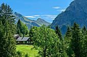 Forsthaus mit Rothorn im Hintergrund, Biosphärenreservat Großes Walsertal, Bregenzerwaldgebirge, Bregenzerwald, Vorarlberg, Österreich