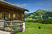 Alpine building of Alpe Steris, Großes Walsertal Biosphere Reserve, Lechquellen Mountains, Vorarlberg, Austria
