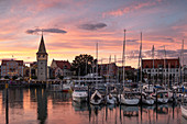 View of the port of Lindau with the Mangturm in the background, Bavaria, Germany, Europe