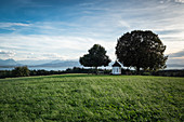 View from chapel near Lindau on Lake Constance and Appenzell Alps with Säntis, Lindau, Lake Constance, Bavaria, Germany