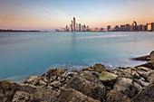 Sunset view of the Abu Dhabi skyline, UAE
