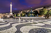 Rossio Square in Lisbon at night