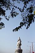 Rider on horse statue on Danube promenade in Bratislava, Slovakia