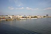 Danube, jetty and house front, Bratislava, Slovakia