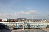 Viewing platform of the UFO observation deck in Bratislava, Slovakia.