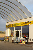 Small gas station in the outskirts of Bratislava, Slovakia