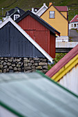Colorful houses in the fishing village of Gjógv, Faroe Islands.