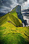 Lighthouse Kallur at the northern tip of the island Kalsoy, Faroe Islands
