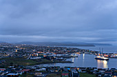 Top view of the capital of the Faroe Islands, Thorshavn, at the blue hour.