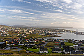 Elevated view of the capital of the Faroe Islands, Thorshavn, at sunrise.