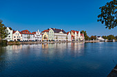 Isargestade on the banks of the Isar in Landshut, Bavaria, Germany