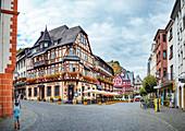 Oberstraße in Bacharach am Rhein, Rheinland-Pfalz, Deutschland