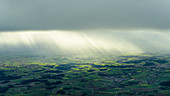Rain showers in the back light, aerial view, Bavaria, Germany