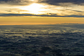 Sunrise over Bavaria from the air, Germany