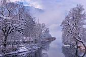 Loisachlauf bei Kochel am See in winter dress, Kochelsee, Germany
