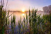 Frühherbstmorgen am Dietlhofer See, Weilheim, Bayern, Deutschland