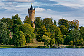 Havel, Tiefer See, Sailor House, Flatow Tower, Babelsberger Park, Potsdam, Brandenburg State, Germany