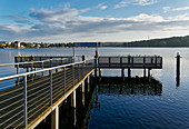 Ship landing stage, Deep Lake of the Havel, cultural location Schiffbauergasse, Potsdam, State of Brandenburg, Germany